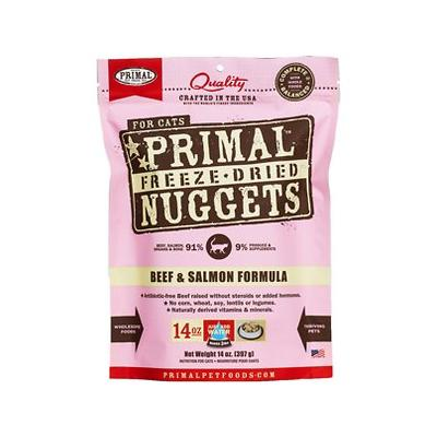 Primal Beef & Salmon Formula Nuggets Grain-Free Raw Freeze-Dried Cat Food, 14-oz bag