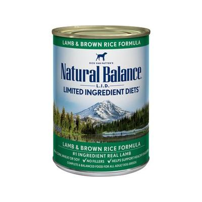 Natural Balance L.I.D. Limited Ingredient Diets Lamb & Brown Rice Canned Dog Food, 13-oz, 12ct
