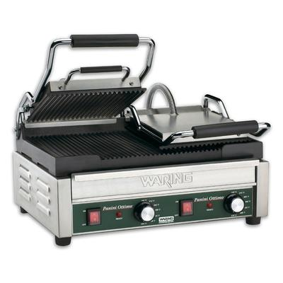 "Waring WPG300T Panini Ottimo Grooved Top & Bottom Panini Sandwich Grill with Timers - 17"" x 9 1/4"" Cooking Surface - 240V, 3120W"