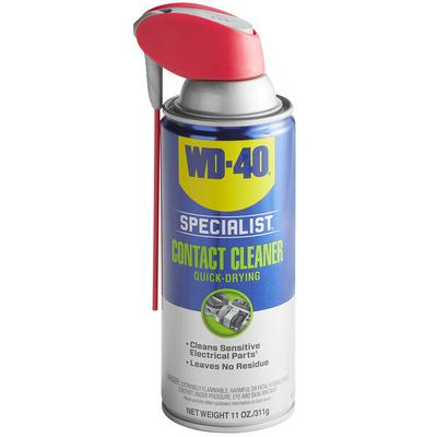 SB: WD-40 300080 Specialist 11 oz. Electrical Contact Cleaner Spray - 6/Case WD-40 Specialist 11 oz. electrical contact cleaner spray is designed to safely clean sensitive electronics without damage or residue buildup. It comes in a convenient 11 oz. bottle with built-in Smart Straw - simply flip the straw up to direct a...