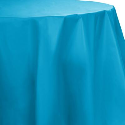 "Creative Converting 703131 82"" Turquoise Blue OctyRound Disposable Plastic Table Cover - 12/Case"