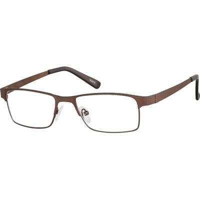 Zenni Men's Rectangle Prescription Glasses Brown Stainless Steel Frame