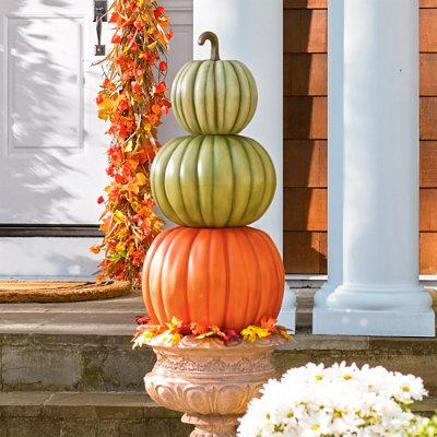 Three-Stack Pumpkin Topiary Halloween Decoration - Grandin Road