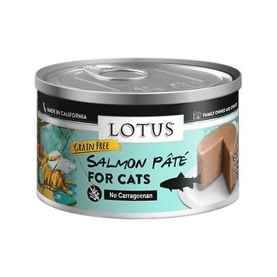 Lotus Salmon & Vegetable Pate Grain-Free Canned Cat Food, 2.75-oz, case of 24; Mix tasty salmon with scrumptious vegetables and what do you get? This Salmon & Vegetable Pate! Open a can and watch your kitty come running.