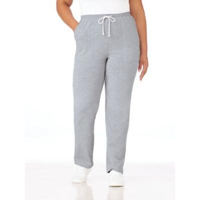 Women's Plus Knit Drawstring Sport Pants, Heather Gray Grey 3XL