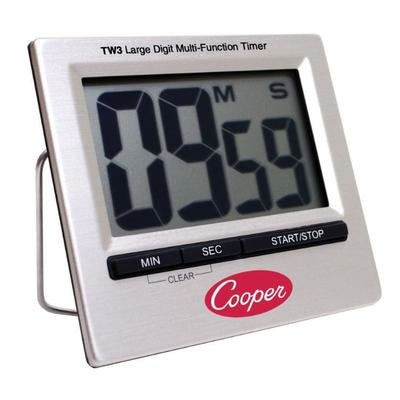 Cooper TW3-0-8 Timer w/ Large Digit LCD Screen, Stainless