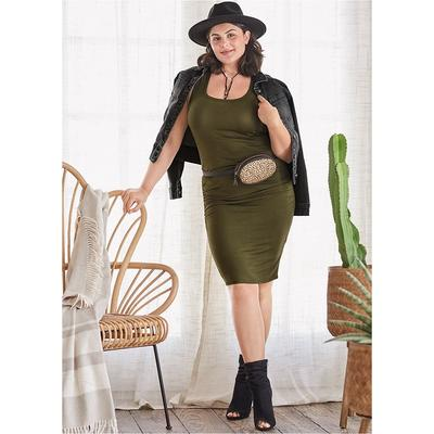 """""""Ruched Tank Dress Dresses - Green"""" on Sale"""