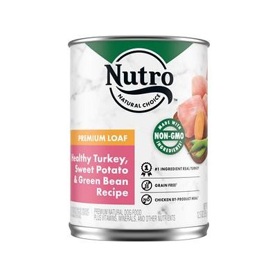Nutro Adult Turkey, Sweet Potato & Green Bean Grain-Free Canned Dog Food 12.5-oz, case of 12; Watch your dog drool with delight over these Nutro Grain-Free Healthy Turkey, Sweet Potato & Green Bean Recipe canned dog food. This premium, grain free wet...