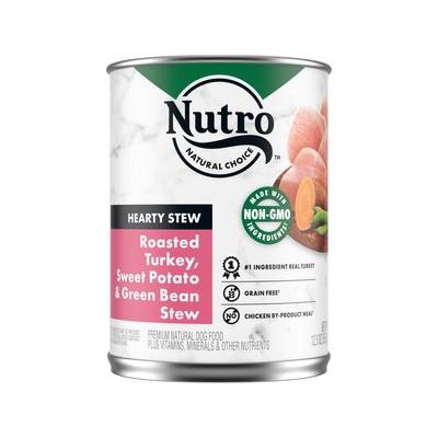 Nutro Hearty Stew Turkey, Sweet Potato & Green Bean Cuts in Gravy Canned Dog Food, 12.5-oz, case of 12; Watch your dog drool with delight over these Nutro Hearty Stew Turkey, Sweet Potato & Green Bean Cuts in Gravy Canned Dog Food. This premium wet dog...