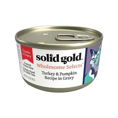 Solid Gold Wholesome Selects with Real Turkey & Pumpkin Recipe in Gravy Grain-Free Canned Cat Food, 3-oz, case of 12