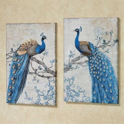 Magnificent Peacock Canvas Wall Art Blue Set of Two, Set of Two, Blue