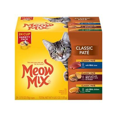 Meow Mix Classic Pate Variety Pack Cat Food Trays, 2.75-oz, case of 24