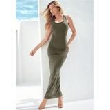 Ruched Tank Maxi Dress - Green