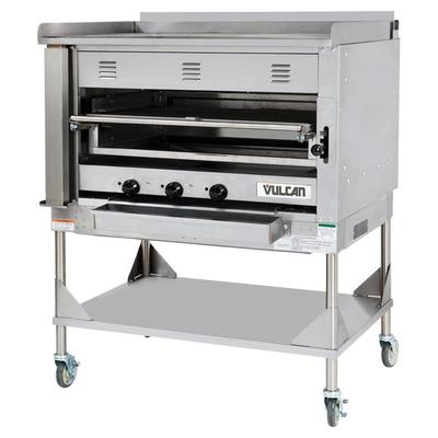 Vulcan VST3B-LP Liquid Propane Chophouse Ceramic Broiler with Griddle Top and Stand - 100,500 BTU