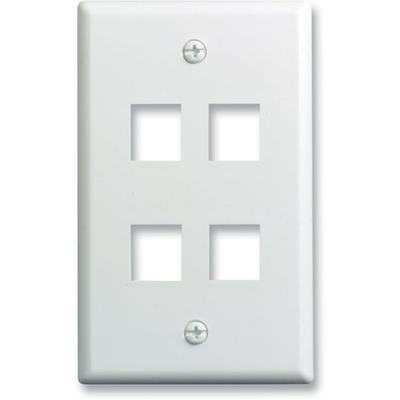 ONQ Single Gang Wall Plate 4-Port, White