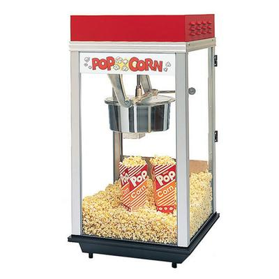 Gold Medal 2214 Red Top-12 Popcorn Machine w/ 14 oz Kettle & Red Powder Dome, 120v on Sale