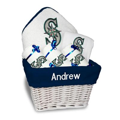 """Newborn & Infant White Seattle Mariners Personalized Medium Gift Basket"""