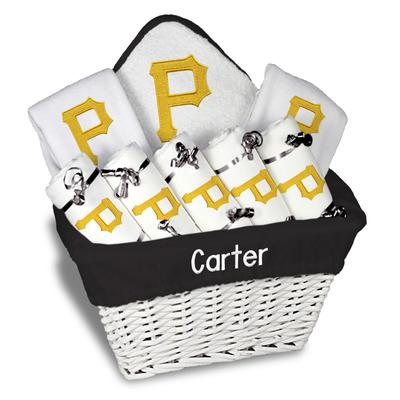 """Newborn & Infant White Pittsburgh Pirates Personalized Large Gift Basket"""