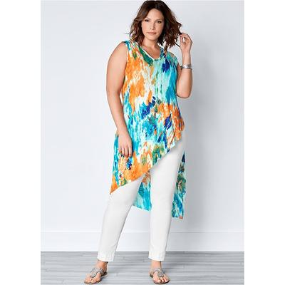 """Plus Size Ribbed TIE DYE Tunic TOP Loungewear - Multi/blue"""