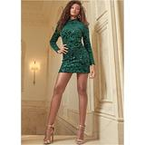 Sequin Detail Velvet Dress Dresses - Green
