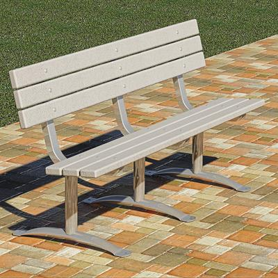 Recycled Plastic Park Bench - 6Ft., Gray, Model PCXB3/G-6PA24