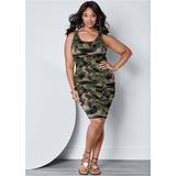 Ruched Tank Dress Dresses - Multi/green