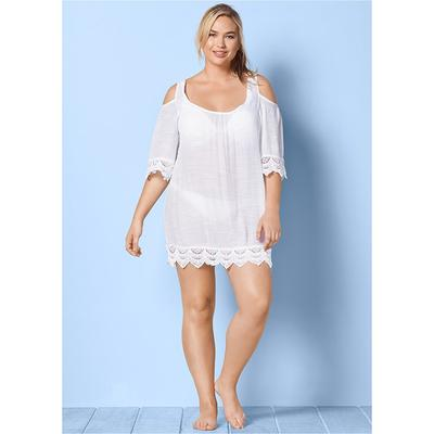 Plus Size Cold Shoulder Cover-Up Cover-ups - White