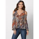 Cold Shoulder Paisley TOP Tops - Multi/orange