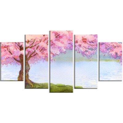Design Art Flowering Pink Tree By Lake 5 Piece Painting Print On Wrapped Canvas Set Canvas Fabric In Brown Pink Wayfair Pt6504 373 Shefinds