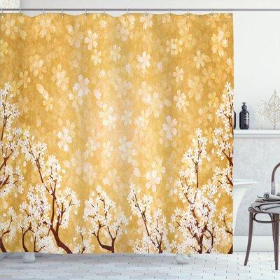 Get The Winston Porter Jamal Trees Blossom Shower Curtain Hooks Polyester In Yellow Gold Size 69 W X 70 L Wayfair Wnpr2889 39392052 From Wayfair Now Accuweather Shop