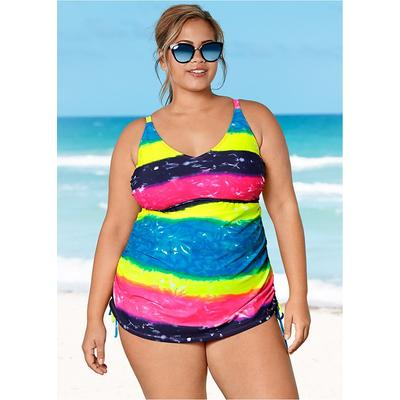 """Plus Size Adjustable Long Tankini TOP Tankini Tops - Blue/yellow/pink"""