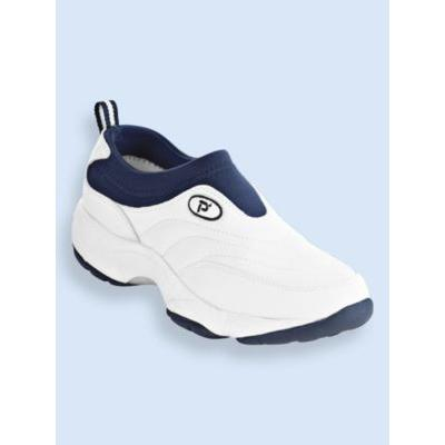 Men's Propet® Wash & Wear Leather and Suede Slip-Ons, White/Navy 11 Extra Wide