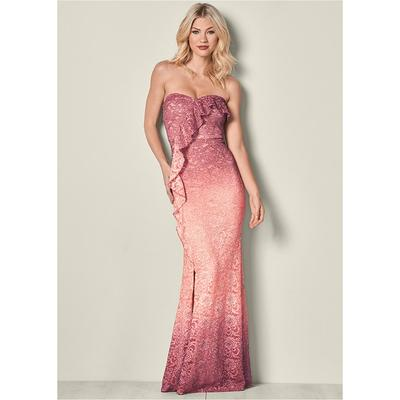 """Ombre Glitter Long Dress Dresses - Pink/multi"" on Sale"