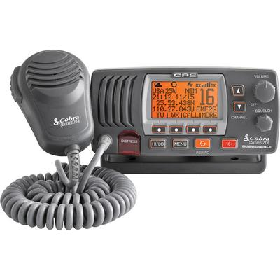 Cobra MR F77B GPS Marine VHF Radio, Rewind and GPS, Gray