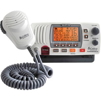 Cobra MR F77W GPS Marine VHF Radio, Rewind and GPS, White