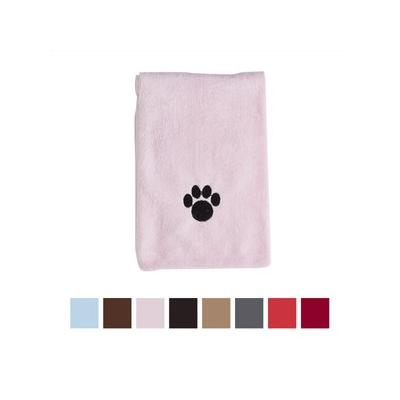 Bone Dry Embroidered Paw Print Microfiber Bath Towel, Pink