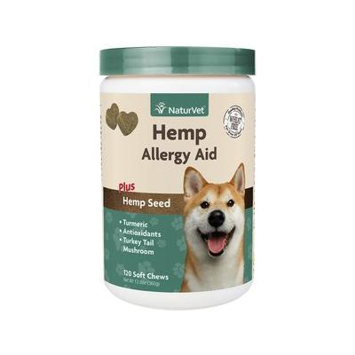 NaturVet Hemp Allergy Aid Plus Hemp Seed Dog Soft Chews, 120 count