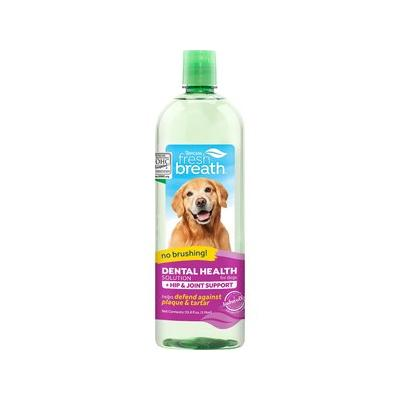 TropiClean Fresh Breath Water Additive + Plus Hip & Joint Dog & Cat Supplement, 33.8-oz bottle