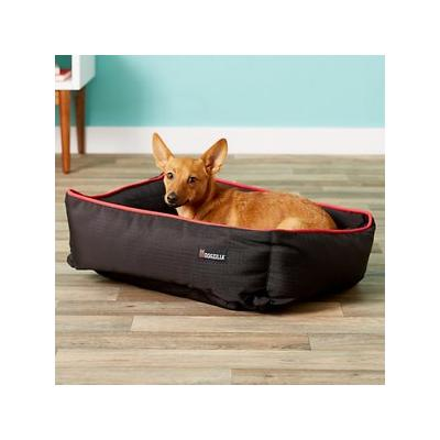 Dogzilla Rectangular Lounger Bolster Cat & Dog Bed, Red/Black