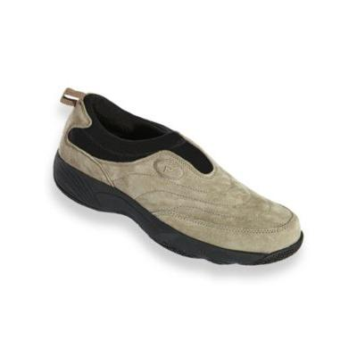 Men's Propet® Wash & Wear Leather and Suede Slip-Ons, Gunsmoke Grey 11 Extra Wide
