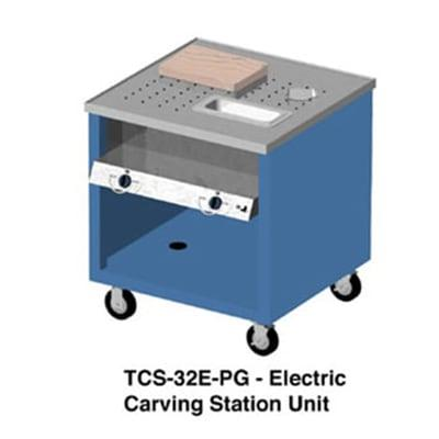 Duke TCS-32E-PG Mobile Carving Station w/ 2 Heat Wells, Paint Grip Body & Undershelf, 120 V