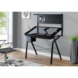 Drafting Table - Adjustable / Black Metal/ Tempered Glass - Monarch Specialties I-7034
