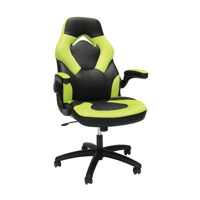 Essentials by OFM Racing Style Leather Gaming Chair in Green - OFM ESS-3085-GRN