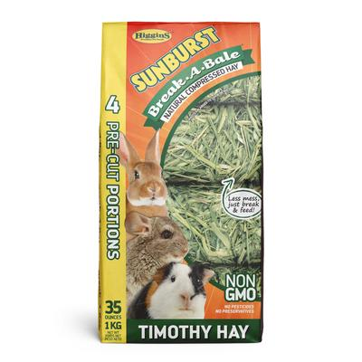 Higgins Sunburst Break-A-Bale Hays are natural, healthy and essential sources of fiber and roughage for your companion rabbit, guinea pig, chinchilla or other small animal.