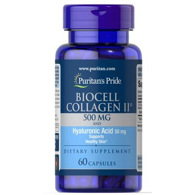 Puritan's Pride Biocell Collagen II 500 mg and Hyaluronic Acid 50mg -60 Capsules