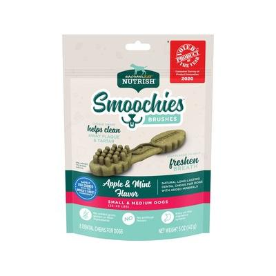 Rachael Ray Nutrish Smoochies Brushes Natural Apple & Mint Small & Medium Dental Dog Treats, 5-oz bag