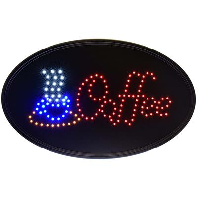 Alpine Industries 497-05 Oval LED Coffee Sign w/ (2) Display Modes - 14W x 23H, Black on Sale