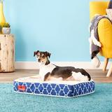 Brindle Waterproof Orthopedic Pillow Cat & Dog Bed w/Removable Cover, Navy Trellis, Small