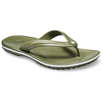 Crocs Army Green / White Crocband™ Flip Shoes