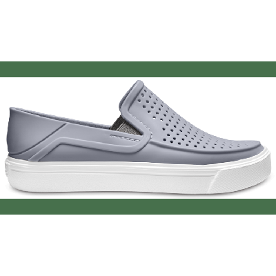 Crocs Light Grey / White Kids' Citilane Roka Slip-On Shoes